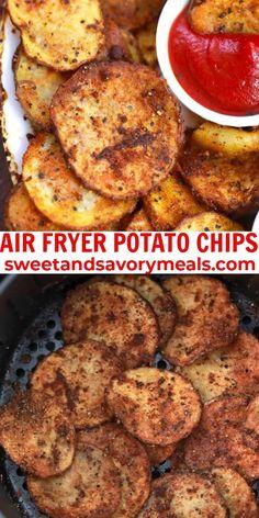 Steak Potatoes, Crispy Potatoes, Twice Baked Potatoes, Air Fryer Potato Chips, Fried Potato Chips, Yummy Appetizers, Yummy Snacks, Snack Recipes, Seared Ahi Tuna Recipe
