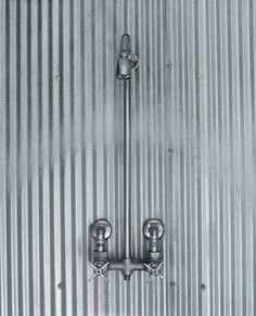 Corrugated tin shower/tub enclosure with exposed shower plumbing Cabin Bathrooms, Rustic Bathrooms, Basement Bathroom, Bathroom Ideas, Outhouse Bathroom, Shower Ideas, Barn Bathroom, Washroom, Master Bathroom