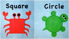 rectangle penguin, oval bumble bee, octagon spider, square crab, triangle roster, circle turtle