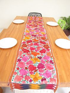 Embroidered Flowered Table Runner Handmade In Chiapas, Mexico