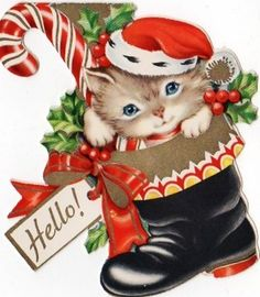 Vintage Christmas Card - kitten in boot