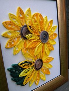 Quilled sunflowers for children. That was ok - Best Paper Quilling Designs Quilling Images, Paper Quilling Flowers, Paper Quilling Cards, Quilling Work, Paper Quilling Patterns, Quilled Paper Art, Quilling Paper Craft, Paper Crafts, Quilling Ideas