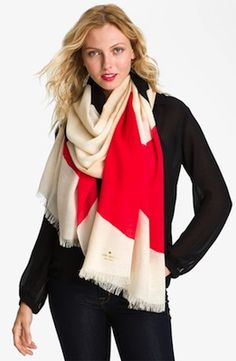 Kate Spade New York 'Abstract Signature Bow' Wool Scarf