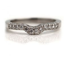 Handcrafted in platinum this distinctive antique style contoured wedding band features thirty seven sparkling round diamonds weighing approximately carat. Antique Wedding Bands, Antique Engagement Rings, Wedding Rings, Art Deco Jewelry, Vintage Jewelry, Platinum Price, Gold Price, Vintage Diamond, Art Deco Fashion