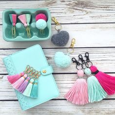 PLANNER TASSELS AND POM POMS - See this Instagram photo by @hautepinkfluff • 1,246 likes