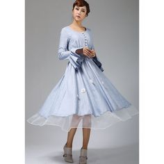 Cute Blue Linen Maxi Dress Button Through Long Dress (670) ($89) ❤ liked on Polyvore featuring dresses, silver, women's clothing, blue long sleeve dress, long dresses, maxi skirt, blue dress and linen maxi skirt