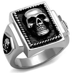 High Polished Stainless Steel Epoxy Men's Skull Ring