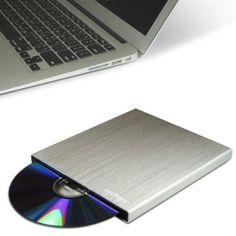 Archgon Glow Silber Ultra Slim Externer Blu-Ray DVD CD Brenner (Slot load disc drive Panasonic UJ-267) mit USB 3.0 - gebürsteten Aluminum Gehäuse - kompatibel mit PC und Mac