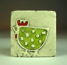 Free Shipping Green hen 2x2 tile magnet. $12.00, via Etsy.