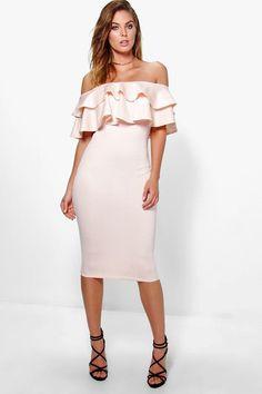 70809e3c04 Boohoo Night Louise Off Shoulder Choker Midi Dress ( 40) ❤ liked on ...