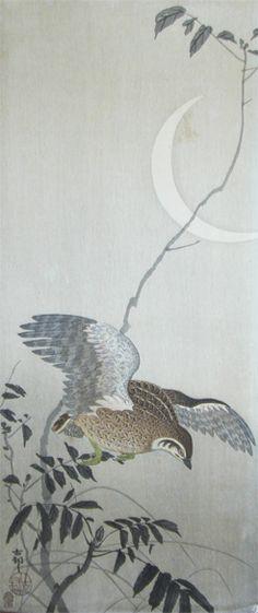 Quail and Crescent Moon - Koson Ohara