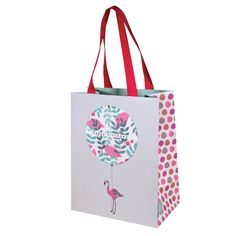 Stop the clock birthday flamingo gift bagMedium Gift bag Size: 200 x 250mm x 100mm when open Double pink grey grosgrain handles Manufacture by Deva Designs LtdCards and Gift Wrap