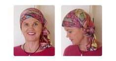 Image from the book 'Headscarves, Headwraps & More. An attractively patterned silky scarf, simply tied at the side. Colour matched to the outfit - this looks amazing!