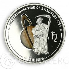 Cook Island 5 Dollars International Year of Astronomy Saturn Silver Coin 2009