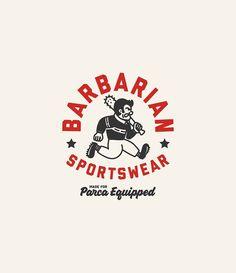 "The post ""Barbarian Sports Logo Design"" appeared first on Pink Unicorn Logo Logo Inspiration, Logo Branding, Branding Design, Brand Identity, Typography Design, Lettering, Luxury Logo Design, Badge Design, Cool Logo"
