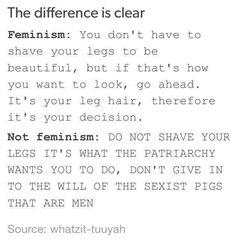 "Leg hair<<Wow, what a weird caption... Let's change that to ""feminist vs misandrist views on leg hair"", good?"