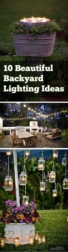 Create a striking backyard with string lights, torches and mason jar lighting. With multiple lighting ideas, you're sure to find something for an enviable space.