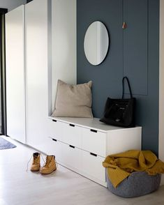 "Ikea ""Nordli"" drawers serve as a bench Ikea Hallway, Ikea Entryway, Modern Entryway, Hallway Storage, Nordli Ikea, Ikea Pax, Mudroom Cabinets, Ikea Pictures, Sheila E"