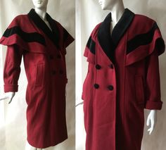 Vintage caped red wool and black velveteen coat, double breasted, knee length, made in Russia and Unkraine, about a medium by afterglowvintage on Etsy European Style, European Fashion, Double Breasted, Russia, Vintage Outfits, Raincoat, Wool, Medium, Trending Outfits