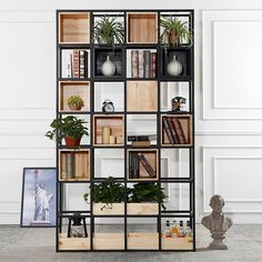 Cheap shelf bookshelf, Buy Directly from China Suppliers:Louis FashionThe Storage Shelf of the Screen Frame of the Iron Art Bookshelf Wooden Living Room Partition, Room Partition Designs, Wood Partition, Simple Bookshelf, Bookshelf Storage, Home Furniture, Furniture Design, Muebles Living, Regal Design