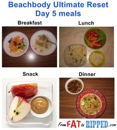 Beachbody Ultimate Reset: Day 5 meals