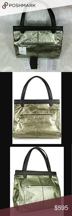 """ALEXANDER WANG Prisma foiled leather tote Save $500 (50%)  This foiled gray-green and black Prisma tote by Alexander Wang is very modern and chic yet functional. Perfect for everyday wear to work.  Foiled leather (lambskin). Two top handles. Pale-gold hardware. Internal slit, zipped and patch pockets. Fully lined in black twill. Magnetic-fastening at top. 12""""W x 14.5""""W x 6""""D.  6.5"""" handle drop.  Brand new. Never worn. No dustbag. Can provide more pictures and info upon request. Reasonable…"""