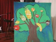 """A poster board with a tree that I painted, with """"FRUITS OF THE SPIRIT"""" attached"""