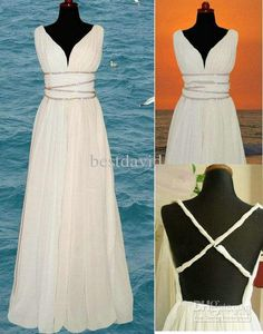 Cheap A-Line Beach Grecian Wedding Dresses 2013 Chiffon V-Neck Cross Backless Beaded Floor-Length
