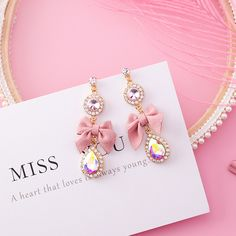 MENGJIQIAO 2018 New Korean Pink Bowknot Dangle Earrings For Women Rhinestone Drop Earings Fashion Jewelry Sweet Gift,#Bowknot#Dangle#Earrings