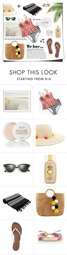 """""""Summertime"""" by dahleia ❤ liked on Polyvore featuring Fresh, Forever 21, Ray-Ban, Sun Bum, Elina Lebessi, Neiman Marcus, Tory Burch and Kate Spade"""