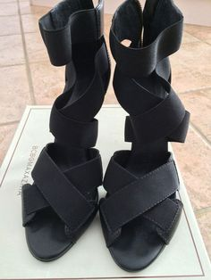 c3a40a39a533 BCBG MAXAZRIA CHRISTINA Black Strappy Womens Designer Shoes Sandals 8.5 EU  37.5  BCBGMaxAzria  Sandals
