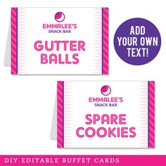 Pink Bowling EDITABLE Buffet Cards - Get this file immediately after purchase, add ANY text you want and print as many as you need. Fast and easy! Pennant Banners, Name Banners, Party Shop, Diy Party, Party Ideas, Bowling Party Themes, Happy Birthday Name, 7th Birthday, Birthday Ideas