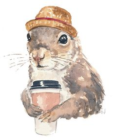 Original Squirrel Watercolor Painting Coffee by WaterInMyPaint