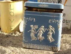 Vintage Blue and White Dancing Angels Tin Box - Made in England