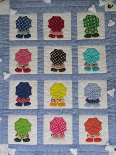 Cute patchwork quilt from Japan people with umbrellas