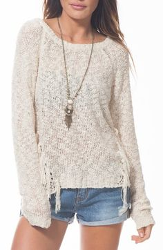 Rip Curl 'Wildwood' Slub Fringe Sweater available at #Nordstrom