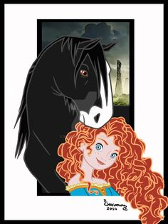 Merida [feat. Angus] (Horses by Rob32 @deviantART) #Brave
