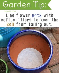 I really like this idea for my indoor plants! Every time I water them in the sink, I lose a lot of the soil down the drain, not to mention the mess it makes under the pot. Coffee filters allow the water to still drain, but keep the dirt contained.