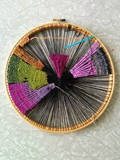 DIY Weaving on an embroidery hoop - I want to find some of various shapes to weave then arrange together on a wall.