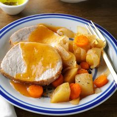 Slow-Cooked Pork Roast Dinner Recipe -This delicious recipe will give you the most tender pork you have ever tasted! You can cut it with a fork, and it's just as moist and tender the next day—if there are any leftovers. —Jane Montgomery, Piqua, Ohio