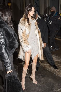 Kendall Jenner Wore a Dramatic Thigh-Slit Dress and Cage Boots in NYC via @WhoWhatWear