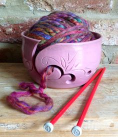Pink Yarn Bowl with floral design by Earth Wool  & Fire.