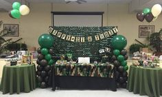 Call of Duty Themed Birthday Dessert and Candy Table Have a call of duty party with mission complete gaming theater of memphis, tennesee! Army Birthday Parties, Army's Birthday, Hunting Birthday, Birthday Party Tables, Birthday Desserts, Birthday Games, Army Themed Birthday, Camouflage Party, Camo Party