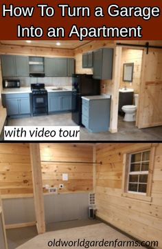 Looking to turn a portion or all of your garage into a studio apartment? See how we created a living space from shiplap, metal and rope! How To Turn a Garage Into an Apartment. Do-it--yourself project. Garage Apartment Interior, Garage Studio Apartment, Studio Apartment Floor Plans, Garage Apartment Plans, Garage Renovation, Garage House Plans, Garage Remodel, Basement Apartment, Diy Apartment Decor