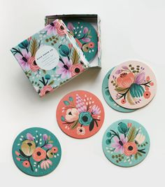 Rifle Paper Co. Photos used with permission from Rifle Paper Co. Rifle Paper Company, Photo Deco, Motif Floral, Grafik Design, Coaster Set, Coaster Design, Paper Goods, Packaging Design, Pattern Design