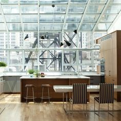 Kitchen in greenhouse with views of New York, Flatiron distric, Platt Dana, Remodelista