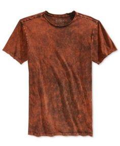 7acb819dfde Guess Men s Gunnarson Mineral-Wash T-Shirt - Brown XXL Lava