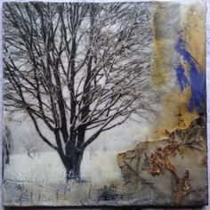just our tree ~ encaustic photograph, silk organza, painted papers, scrim, oil stick ~ by wen redmond