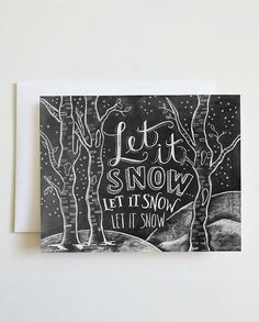 Let It Snow Holiday Chalkboard Cards – Set of 8