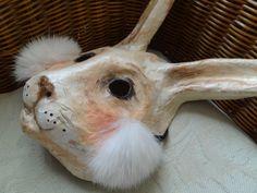 Alice in Wonderland Paper mache rabbit mask bunny by MiesmesaBerni